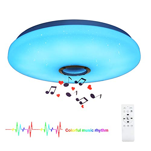 24W LED Music Ceiling Light with Bluetooth Speaker for Kids' Room Bedroom, 15 inch Color Changing Night Light with Remote Control Ceiling Light for Children's Room