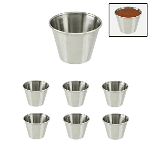 6-Piece Stainless Steel Ramekin Sauce Cups for Condiments, Ketchup, Dips, Dressings - 1/3 Cup