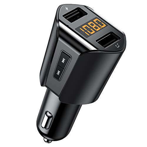 Criacr Bluetooth FM Transmitter for Car, Wireless Radio Transmitter Car Adapter with Hand-Free Calling, Dual USB Car Charger, Music Player for All Smartphones