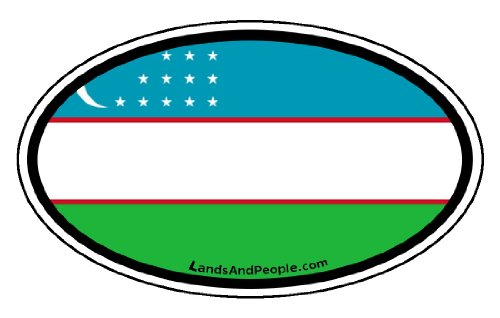 Uzbekistan Flag Car Bumper Sticker Decal Oval