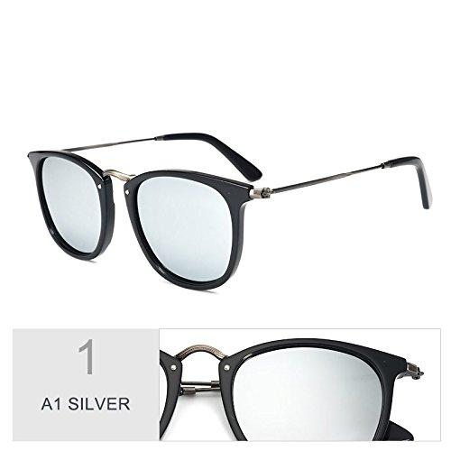 Sol De Marrón Atrás Gafas Acetato Mano Tianliang04 Silver Popular Polarizadas Unisex Haciendo A1 Liso a13 E157Cqw