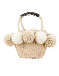 Straw Hand Woven Beach Bag for Women with Pom Poms and Inner Pouch, Boho Rattan Drawstring Retro Summer Beach Handbag