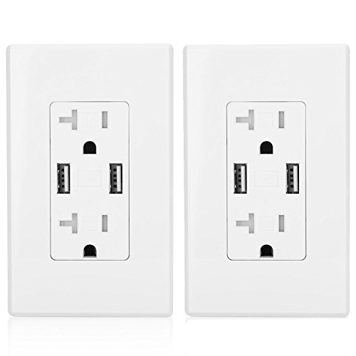 [2 Pack] BESTTEN 20-Amp USB Outlet Receptacle, Dual 3.8A USB Wall Charger, Electrical Tamper Resistant (TR) Duplex Receptacle, Screwless Wall Plate Included, UL Certified, ()