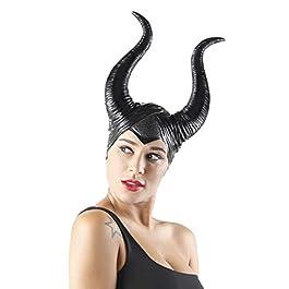 cuteDIY Horns Costume Black Headpiece Women Cosplay Halloween Adult Headband Accessories