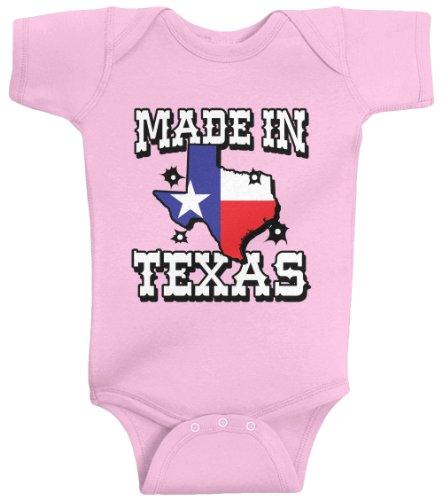Threadrock Unisex Baby Made In Texas Bodysuit 12M Pink (In Onesie Texas Baby Made)