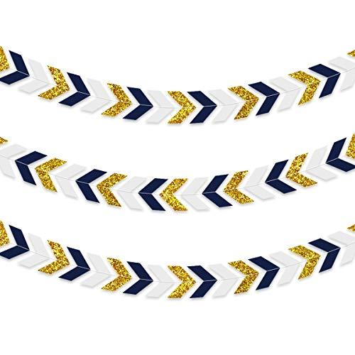 NICROLANDEE 3pcs Nautical Party Decorations Navy Blue Paper Arrow Banner Garland Gold Glitter Chevron Design Tribal Party Wall Window Streamer for Baby Shower Birthday Bachelorette Party Supplies]()