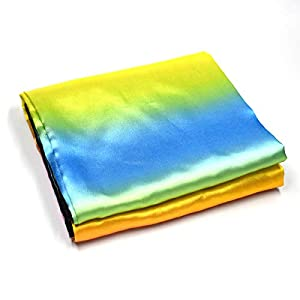 OUERMAMA Change Color Scarf Magic Trick Props Black to Rainbow Silk Stripe for Professional Magician Kids Funny Toys
