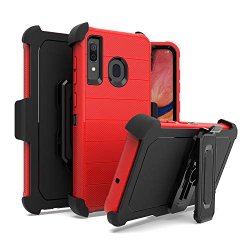 EnCASEs Belt Clip Holster Cell Phone Case for Samsung Galaxy A20 / A30 / A50, Dual Layer Matte Delux Hybrid Case…
