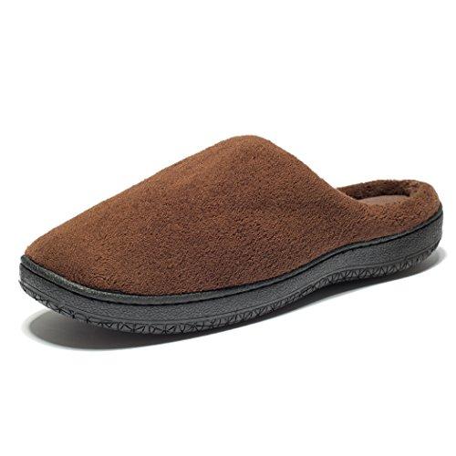 KENSBUY Men's Slip-on Warm Memory Foam Coral Fleece Indoor/Outdoor Slippers Brown L