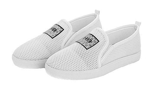 ronde chaussures fermé mélangées VogueZone009 à solide femmes matériaux blanc pompes bout SZfn7wTx