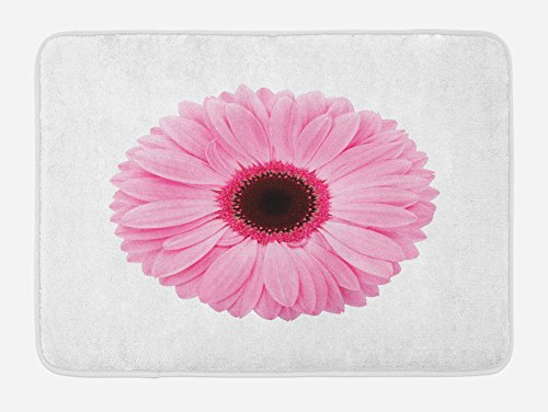 """Ambesonne Pink and White Bath Mat, Fresh Gerber Daisy Garden Plants of Spring Growth Single Flower Image, Plush Bathroom Decor Mat with Non Slip Backing, 29.5"""" X 17.5"""", Pale Pink"""