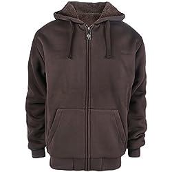 Thick Warm 1.8 lbs Full Zip Sherpa Lined Fleece Hoodies for Men Solid Front Zipper Fishing Jackets XL Coffee