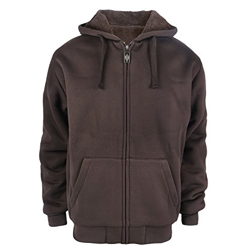 - Heavyweight 1.8 lb Full-Zip Sherpa Lined Fleece Hoodies for Men Plus Sizes S - 5XL Men's Solid Jackets (3XL, Coffee)