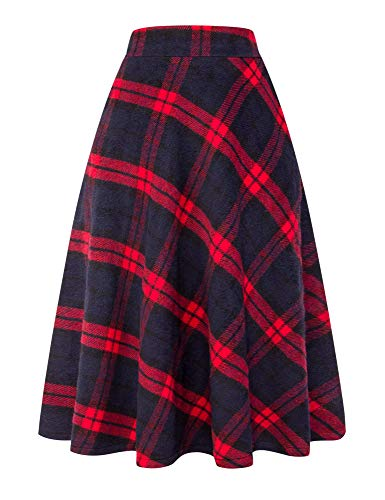 (IDEALSANXUN Womens High Elastic Waist Maxi Skirt A-line Plaid Winter Warm Flare Long Skirt (Large, Long Red) )