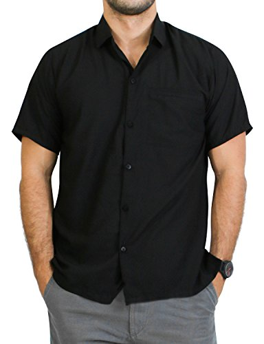 La Leela Aloha Hawaiian Tropical BEACH Solid plain Mens Casual Short Sleeves Button Down Tropical Shirts L Black (Rayon Shirt Camp)