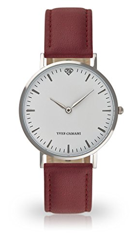 YVES CAMANI Amelie Women's Wrist Watch Quartz Analog Red Leather Strap White Dial YC1097-A-737