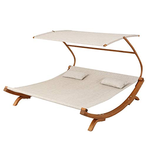 (Modern Double Teak Chaise Lounge with Cushion)