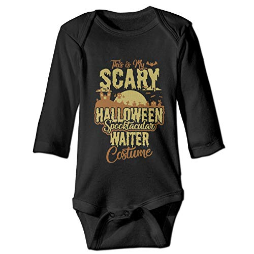 KIDDDDS Baby This is My Scary Halloween Spooktacular Waiter Costume Long Sleeve Romper Onesie Bodysuit -