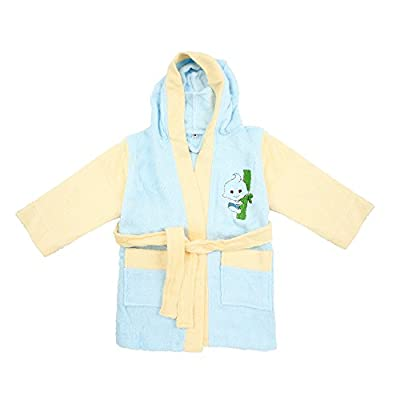100% Bamboo Kid's Bathrobe Blue-Yellow, Ultra Soft, High Absorbency