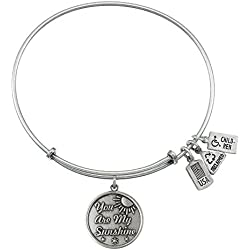 Wind and Fire You are My Sunshine Charm Bangle Silvertone Finish