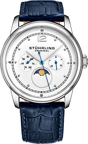 Stuhrling Original Mens Moonphase Dress Watch Stainless Steel Case