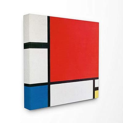Stupell Industries Abstract Composition in Red Blue and Yellow Canvas Wall Art, 30 x 30, Multi-Color