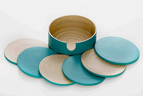 (Set of 6 Natural Bamboo Coasters with Holder. These Handcrafted Reversible Beverage Coasters Feature Natural Spun Bamboo on One Side and Turquoise on the Other. Decorative Organic Table Coasters Set)