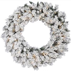 "Vickerman 30"" Flocked Snow Ridge Wreath with 50 Clear lights"