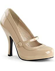 Summitfashions Womens Glossy Nude Patent 4.5 Inch Mary Jane Heels Chic Nude Dress Shoes