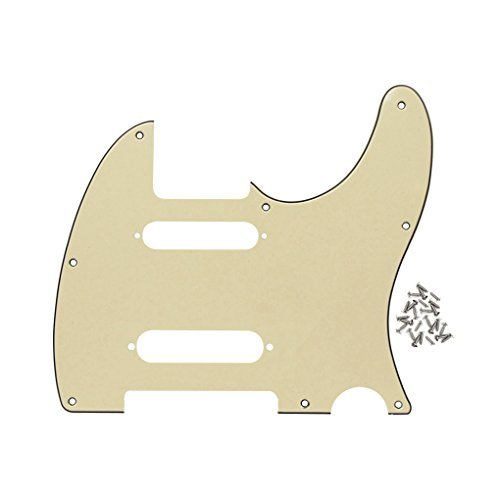 IKN 8 Hole SS Tele Guitar Pickguard Front Scratch Plate with Screws for Standard Tele Nashville Style Guitar Part,3-Ply Cream