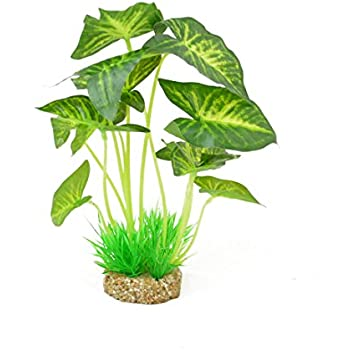 CNZ Aquarium Decor Fish Tank Decoration Ornament Artificial Plastic Plant Green, 9.5-inch