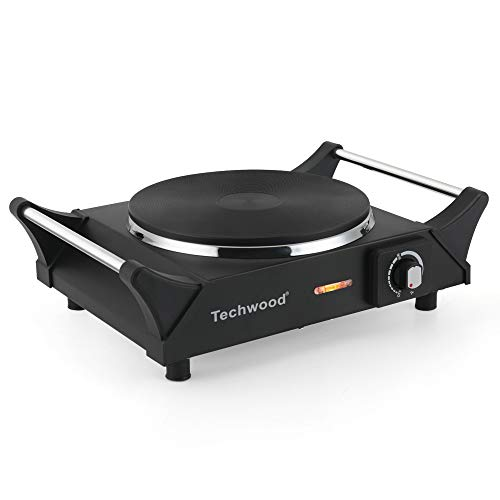 Techwood Hot Plate Electric Single Burner Portable Countertop Burners 1500W, Stay CoolHandles, [Upgraded Exclusive]