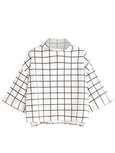 SweatyRocks Women's 3/4 Sleeve Cowl Neck Basic Loose T-shirt Elegant Blouse Tops (Medium, White#) (Jeans Trendy)