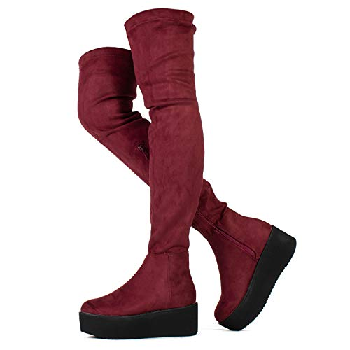 Pinot-23 Women's Narrow Calf Fit High Platform Side Zip Opening Over The Knee Boots Wine (9)