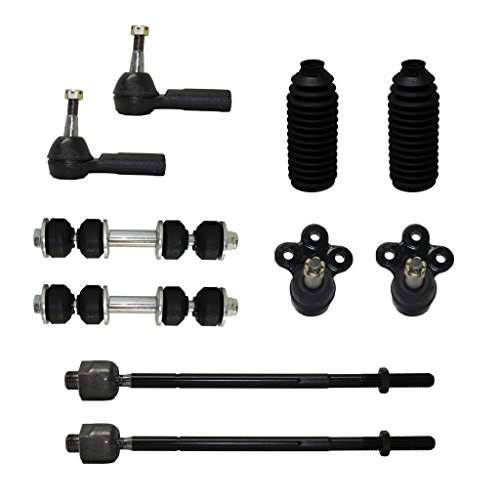 Detroit Axle - Brand New Complete 10-Piece Front Suspension Kit - 10-Year Warranty- Both (2) Front Lower Ball Joint, All (4) Inner & Outer Tie Rod Ends ; 2 Front Sway bar links & 2 Tie Rod Boots... (Two Rod Tie Ends)