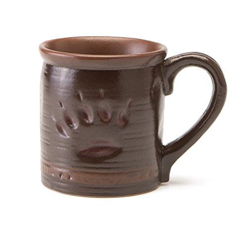 Maskwa Ridge Bear Track Rustic Brown 12 Ounce Glossy Stoneware Mug Set of 4