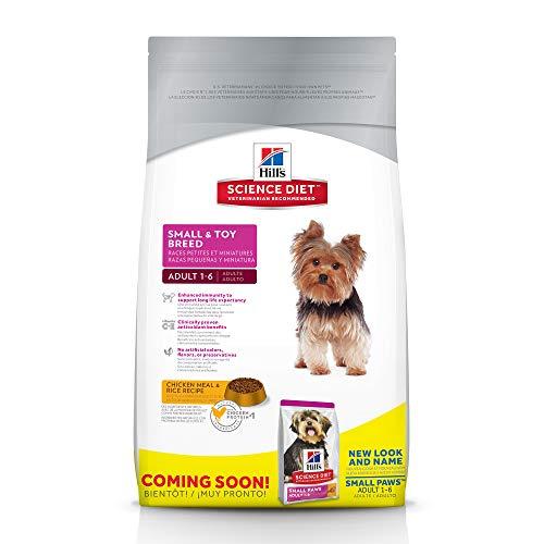 Hill's Science Dieta Adulto Pequeño y de raza para juguetes Comida para perros, comida con pollo y arroz Receta Comida seca para perros, bolsa de 15.5 lb
