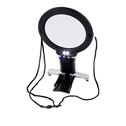ARSUK Lupas, LED encendido Cuello y escritorio Lupa con soporte para lectura, costura, hobby, joyeria, reparacion de punto de cruz, manualidades de arte (Lupa de cuello y escritorio)