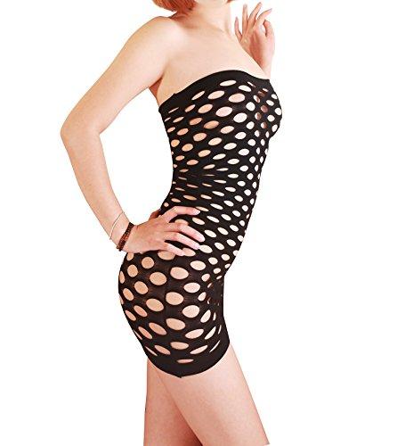Sexysamba Womens Hot Sexy Babydoll Lingerie Bodysuit Strapless Mesh Hole Chemise Mini Club Tube Dress,Onesize Black (Porta Collares)