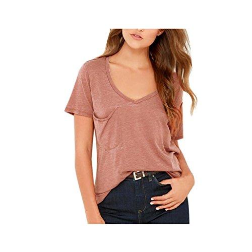 Koly_V-Neck manica corta camicetta delle donne casuale solido delle parti superiori T-Shirt Top