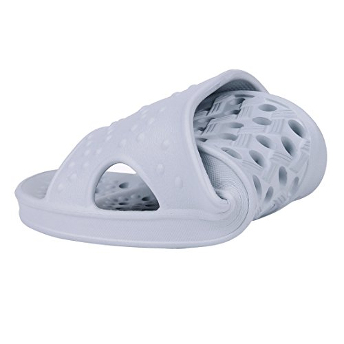 Shevalues Shower Sandal Slippers Quick Drying Bathroom Slippers Gym Slippers Soft Sole Open Toe House Slippers Gray jhxzp73Pe