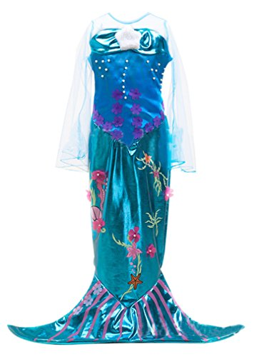 [Eyekepper Little Girls' Mermaid Costume Halloween Costume Mermaid Dress 150cm] (The Little Mermaid Costume)
