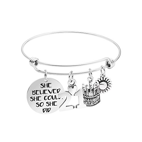 Yiyang 21th Birthday Gifts for Women Motivational Expandable Bangle Bracelet She Believed She Could So She Did