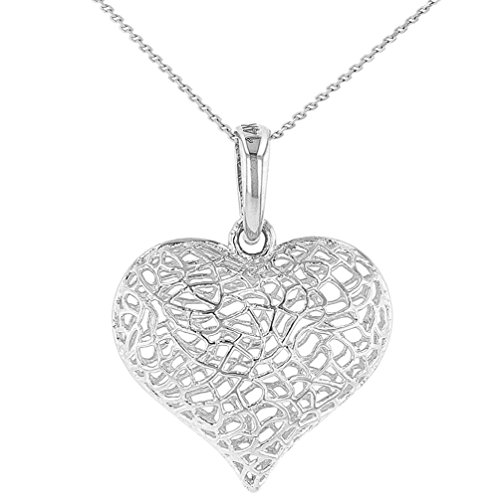 Textured 14k White Gold Puffed Filigree Heart Charm Pendant Necklace, ()