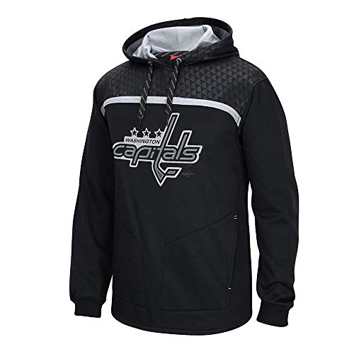 Washington Capitals Reebok Cross Check Primary Logo Black Pullover Hoodie Men's