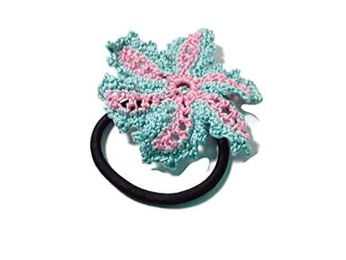 pink teal flower crochet