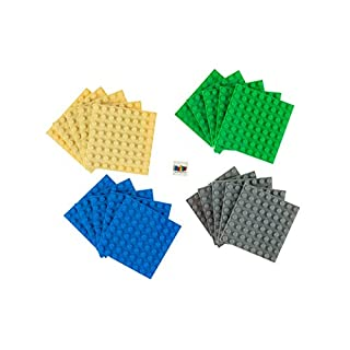 "Strictly Briks Classic Briks 20 Piece Blue, Green, Gray, and Sand 2.5"" x 2.5"" (8x8 Studs) Building Brick Baseplate Creative Play Set - 100% Compatible with All Major Brick Brands"