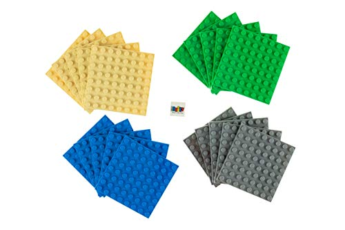 """Strictly Briks Classic Briks 20 Piece Blue, Green, Gray, and Sand 2.5"""" x 2.5"""" (8x8 Studs) Building Brick Baseplate Creative Play Set - 100% Compatible with All Major Brick Brands"""
