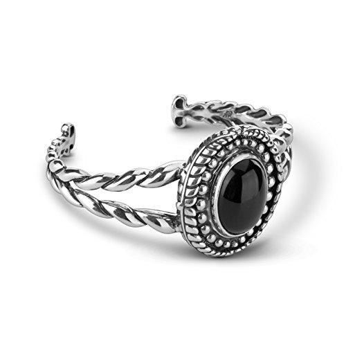 - American West Sterling Silver Black Agate Gemstone Interchangeable Cuff Bracelet Size Large