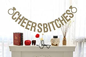 Hoter CHEERS BITCHES Diamond Ring Bridal Shower Bachelorette Decorations Single Party Banner Bunting Flags Gold Glitter Garland from HÖTER